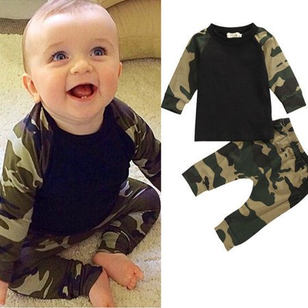 0-24M Newborn Baby Boys Long Sleeve T-shirt Tops + camouflage Pants Outfit Set thumbnail
