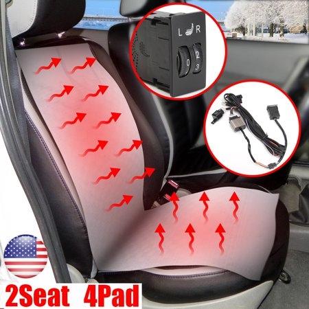 New 12V 2 Seats Carbon Fiber Car Heated Seat Heater Cushion Smart 4 Pads Kit 2-Dial 5-Level Switch Universal