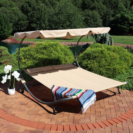 Sunnydaze Double Chaise Outdoor Lounge Bed With Canopy And Headrest Pillow Portable Patio Sunbed Hammock