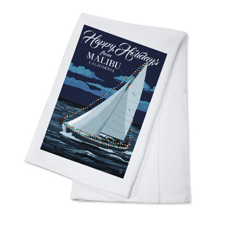 Malibu  California   Christmas Lights Sailboat   Lantern Press Artwork  100  Cotton Kitchen Towel