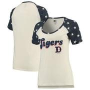 Detroit Tigers New Era Women's Baby Jersey Star Raglan Scoop Neck T-Shirt - Cream/Navy