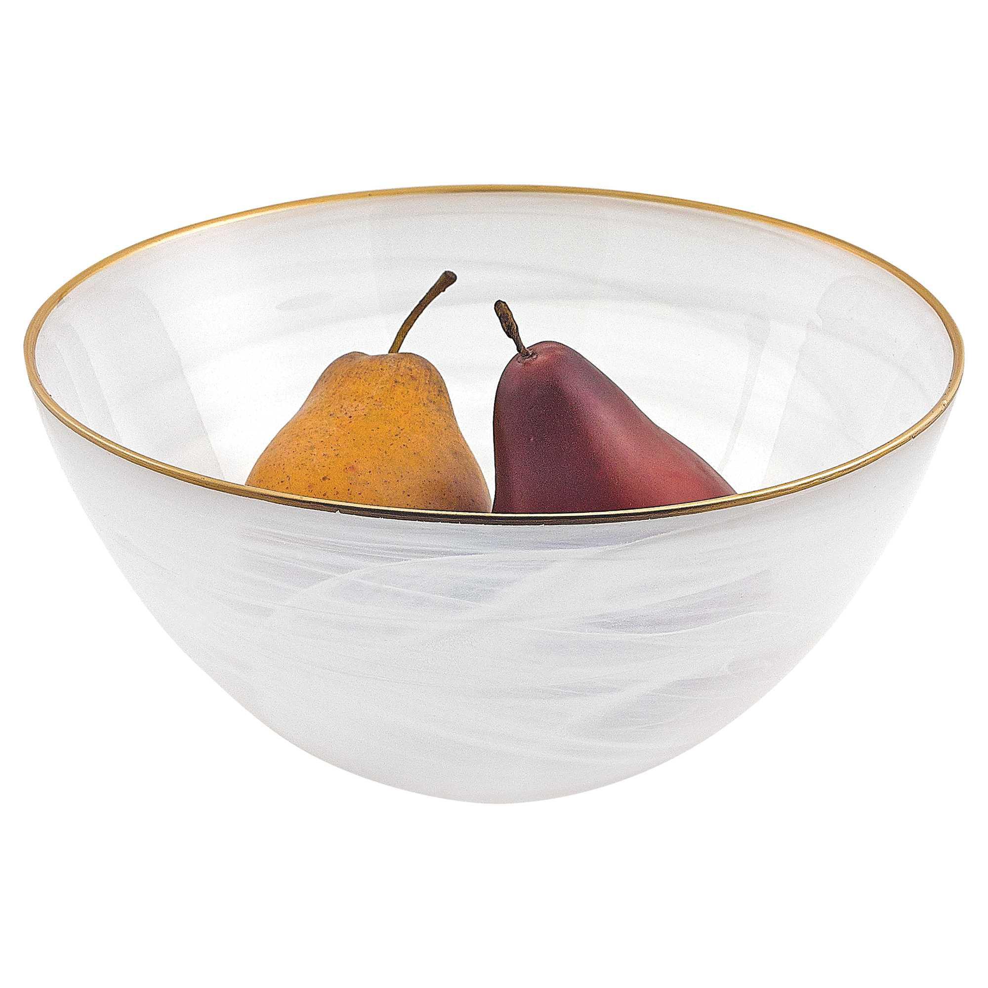 10 Hand Crafted White Gold Glass Fruit Or Salad Bowl With Gold Rim Walmart Com Walmart Com