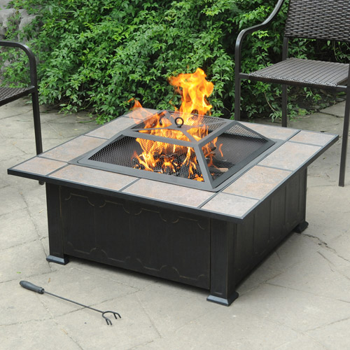 Axxonn Tuscan Ceramic Tile Top Fire Pit, Black/Antique Bronze