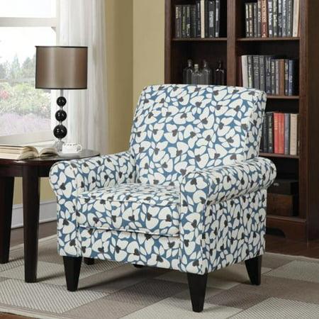 Handy Living  Dana Blue Modern Floral Arm Chair