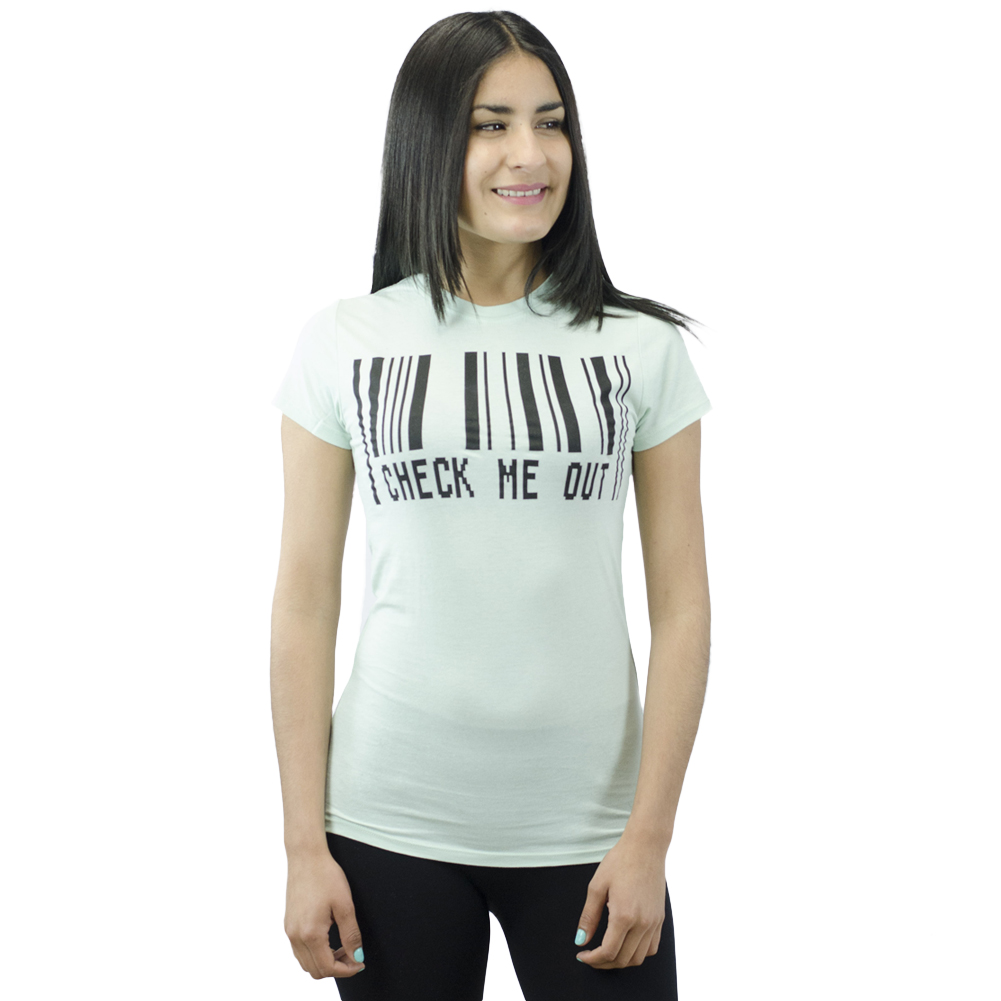 Three For Twelve Check Me Out Scanner Printed Junior's T-shirt, Light Green