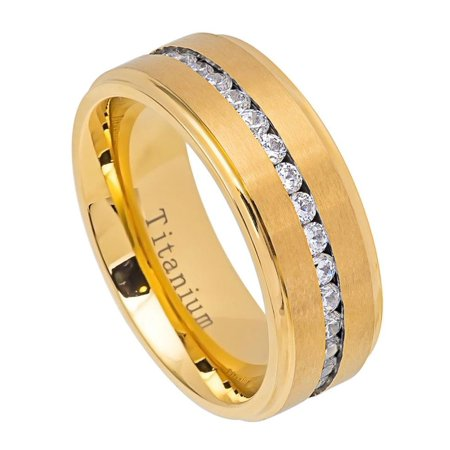 Men Women 8MM Comfort Fit Titanium Wedding Band Gold Tone Brushed Center Shiny Edge CZ Eternity Ring (Size 7 to 15)