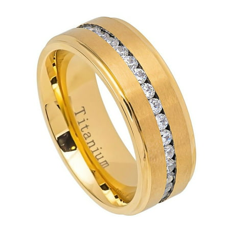 Men Women 8MM Comfort Fit Titanium Wedding Band Gold Tone Brushed Center Shiny Edge CZ Eternity Ring (Size 7 to 15)