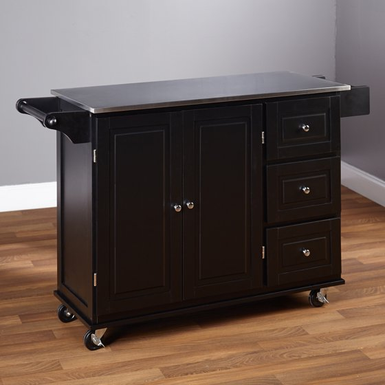 Stainless Kitchen Cart: Sundance Kitchen Cart With Stainless Steel Top, Black
