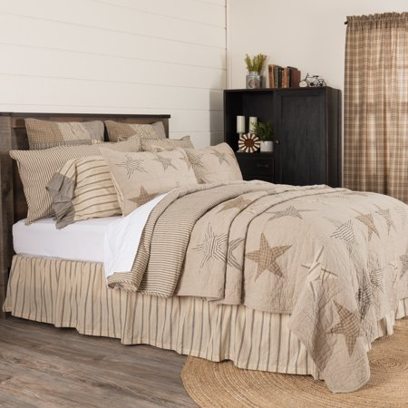 Khaki Tan Farmhouse Independence Day Bedding Miller Farm Cotton Pre-Washed Patchwork Chambray Star Rectangle King Quilt Shooting Star Farm
