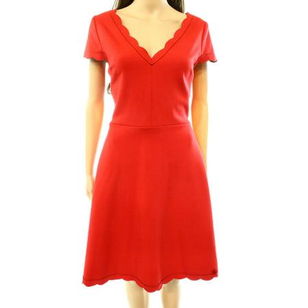 Betsey Johnson New Red Womens Size 8 Scalloped Hems Sheath Dress