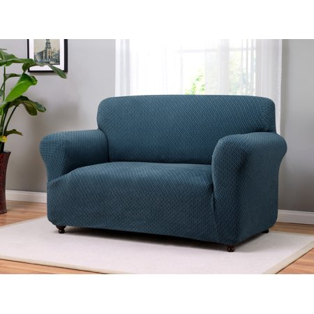 Madison home stretch galway furniture slipcover loveseat blue Blue loveseat slipcover