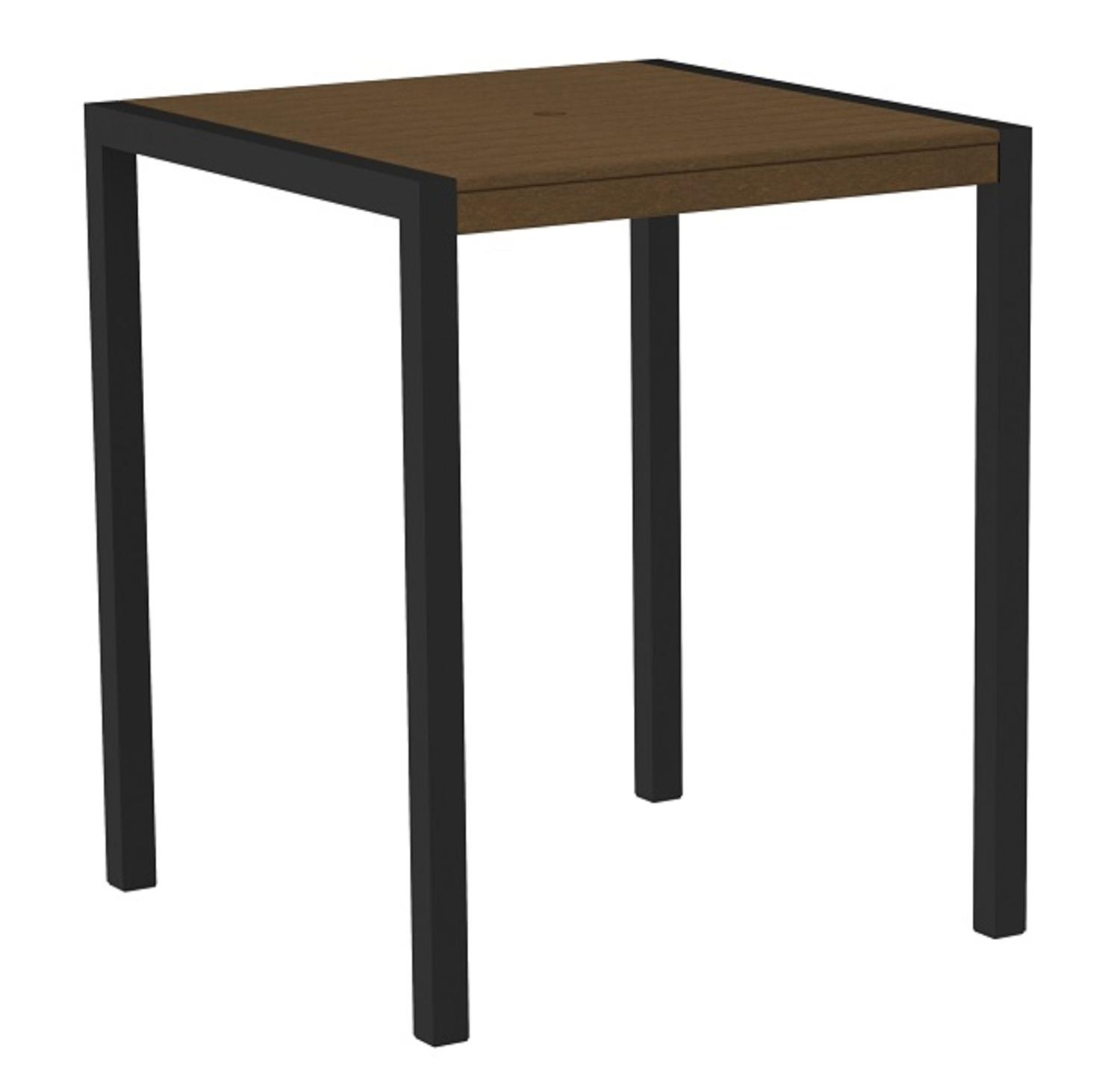 "42"" Outdoor Recycled Earth-Friendly Pub Table Teak Brown with Black Frame by Eco-Friendly Furnishings"