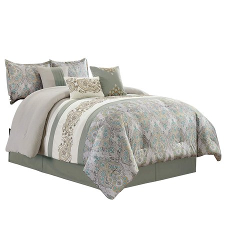 Woven Paisley Scroll - Chezmoi Collection Alberta 7-Piece Medallion Paisley Scroll Embroidered Striped Comforter Set