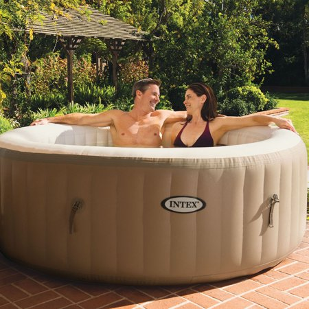 Intex PureSpa 4-Person Tan Inflatable Bubble Jet Spa Portable Hot Tub with