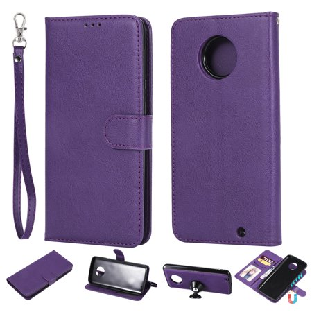 Moto G6 Plus Case, Motorola G6 Plus 2018 Case, Allytech Premium PU Leather Flip Case Cover & Card Slots Pocket, Wrist Design Detachable Slim Case for MOTO G6 Plus 2018 (Purple)