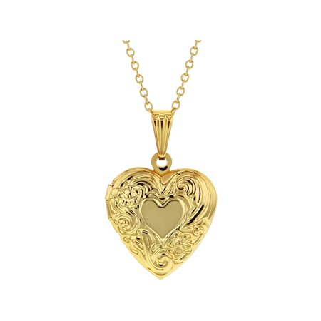 Small Heart Locket Necklace Flower Photo Remembrance Girls 19