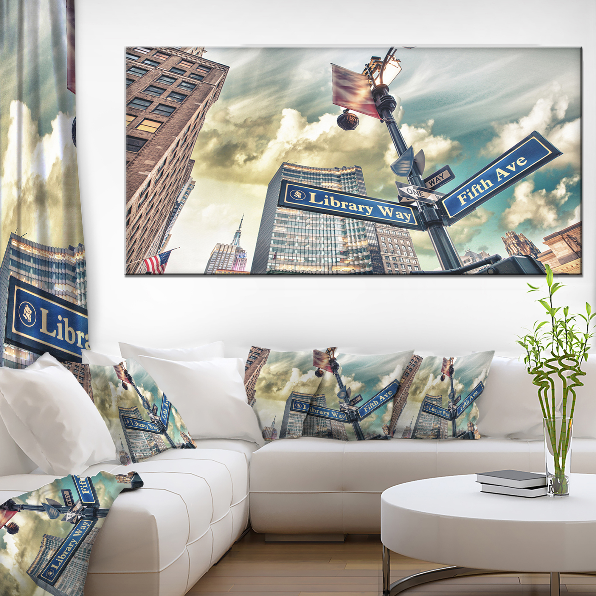 Library way and 5th avenue street signs modern cityscape canvas art print