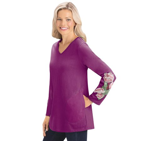 women's side pocket tunic top with embroidered floral design, long sleeve, v-neck, medium, green - Green Floral Pattern
