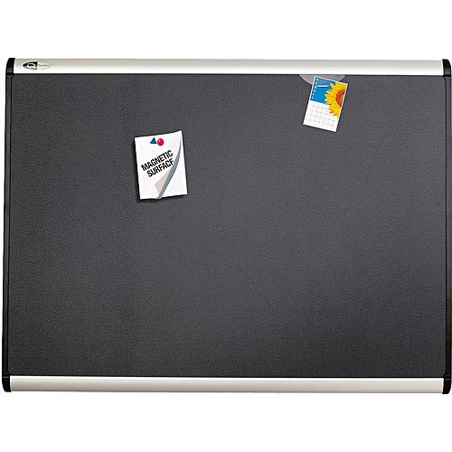 "Quartet Prestige Plus Magnetic Fabric Bulletin Board, 36"" x 24"", Aluminum Frame"