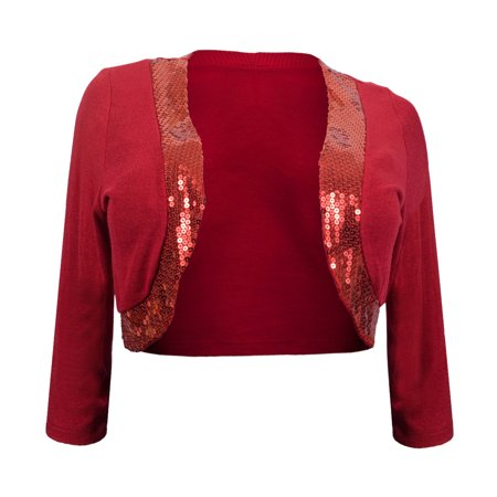 eVogues Womens' Sequin Trim 3/4 Sleeve Cropped Bolero Shrug Red (Sequin Bolero)