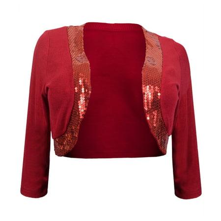 eVogues Womens' Sequin Trim 3/4 Sleeve Cropped Bolero Shrug (Crop Bolero Shrug)