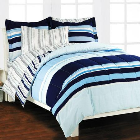 Image of Newport Stripe Bed in a Bag Bedding Set, Blue