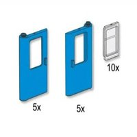 Lego Blue Train Doors with Panes 3736