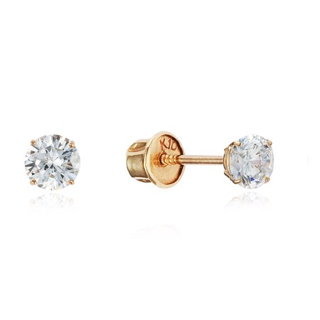 10k Yellow Gold 3mm Basket Round CZ Cubic Zirconia Solitaire Children Screw Back Baby Girls (Best Earring Backs For Toddlers)