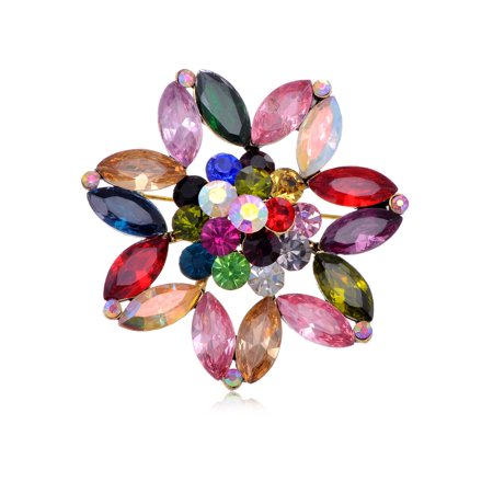 Seed Shaped Color Rhinestone Fashionable Design Costume Jewelry Cute Brooch Pin