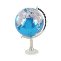 Decmode Contemporary 20 Inch Blue Marble And Plastic Globe, Blue, Silver
