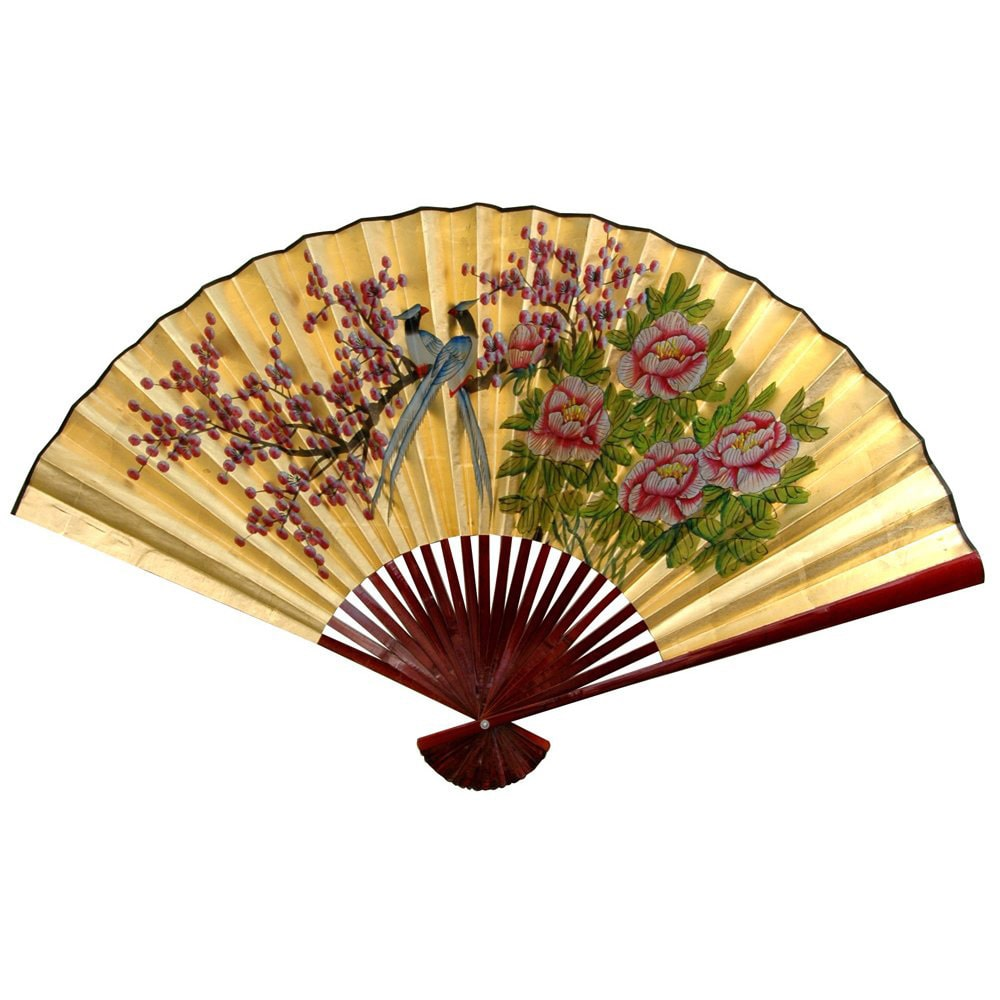 Oriental Home Handmade 30-inch Wide Gold Leaf Love Birds Fan (China)