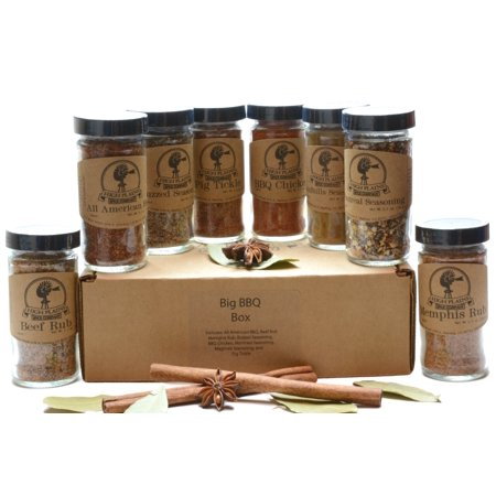 Big BBQ Box ~ BBQ Rub and Spices Gift Set of 8 ~ Gift Set by High Plains Spice Company ~ Gourmet Meat and Veggie Spice Blends & Rubs For Beef, Chicken, Veggies & All Recipes ~ Handcrafted Spice Blends