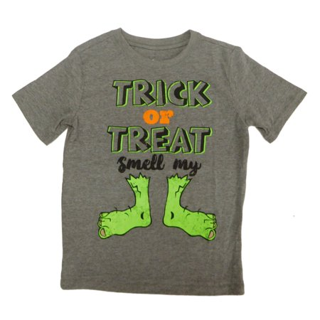 Boys Heather Gray Trick Or Treat Smell My Feet Halloween T-Shirt](Smell My Feet Halloween)