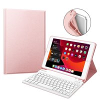 Fintie TPU Keyboard Case for iPad 10.2 Inch 8th & 7th Gen - [Built-in Pencil Holder] Tablet Cover
