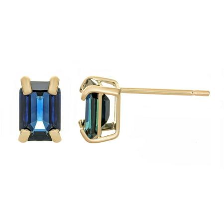 14K Yellow Gold Emerald Cut 6x4 Sapphire Stud Earrings