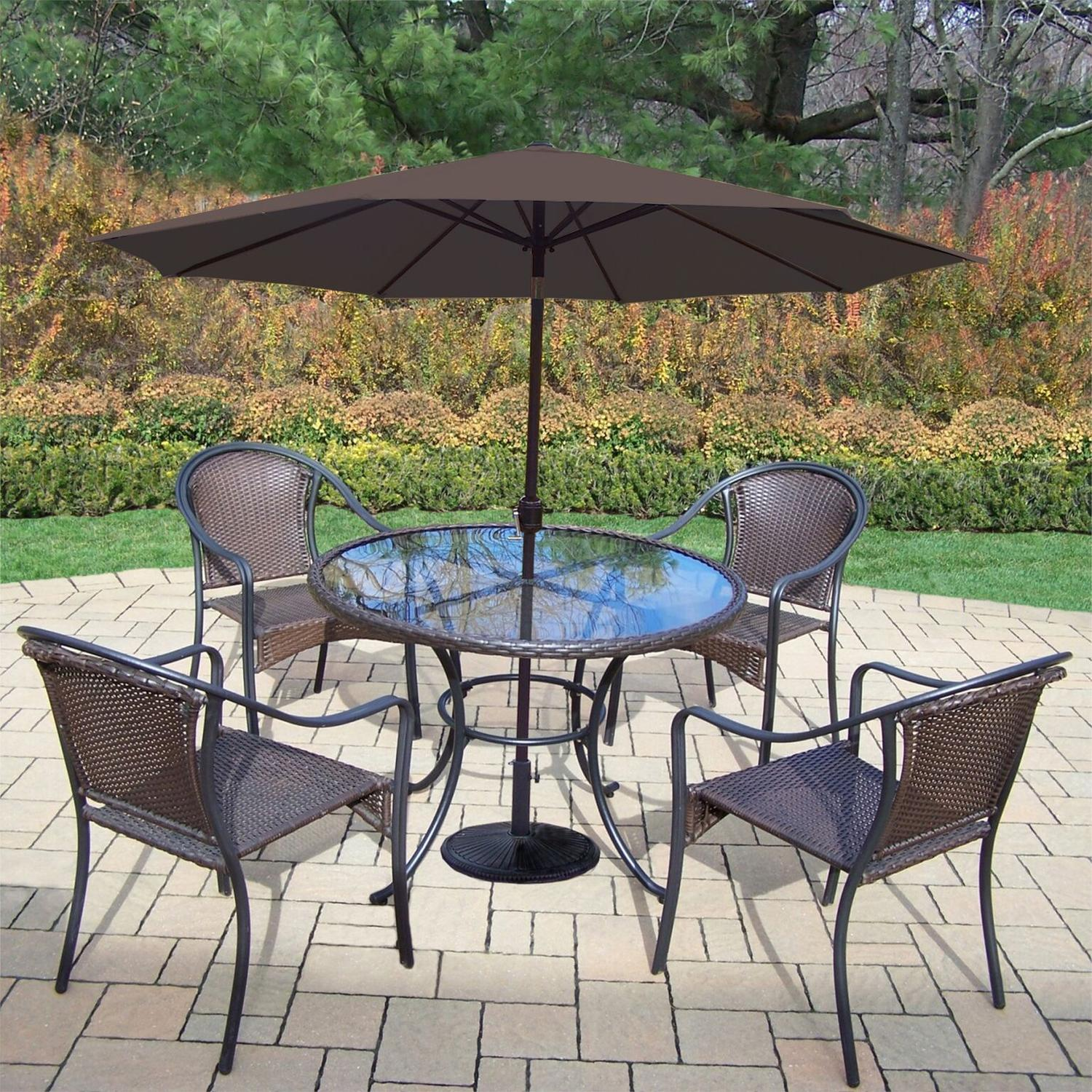 7-Piece Coffee Tuscany All-Weather Resin Wicker Dining Set w/ Brown Umbrella & Weight