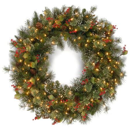Wintry Pine Pre-lit Wreath ()