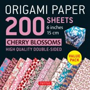 "Origami Paper 200 sheets Cherry Blossoms 6"" (15 cm) : Tuttle Origami Paper: High-Quality Origami Sheets Printed with 12 Different Colors: Instructions for 8 Projects Included"