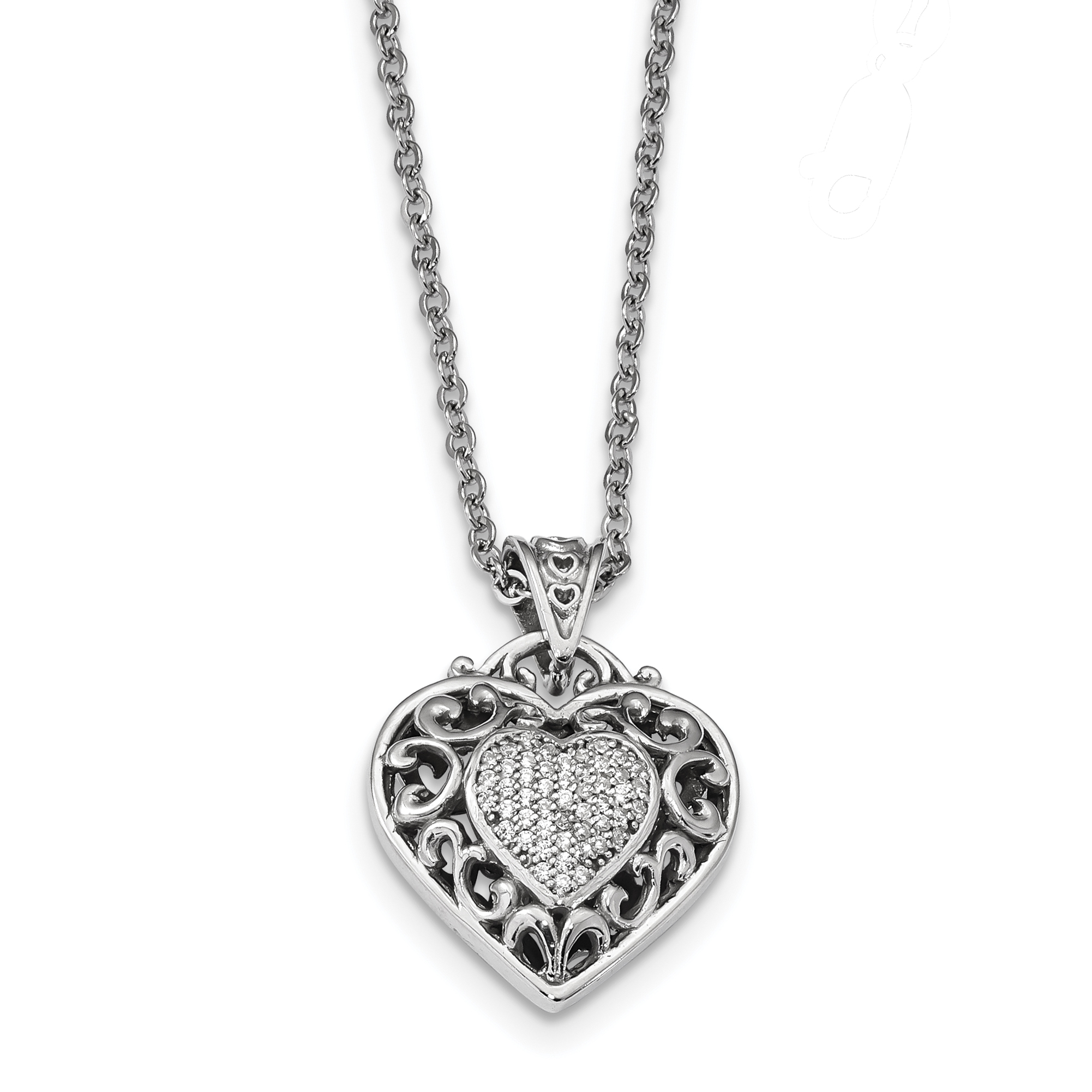 925 Sterling Silver Rhodium-plated CZ Heart Necklace