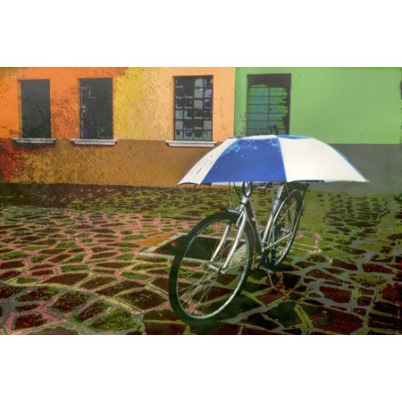 Wall Art Of Bicycle Protected By Blue And White Umbrella In Front Of Colourful Buildings On Burano Island On Canal In Venice Italy Posterprint