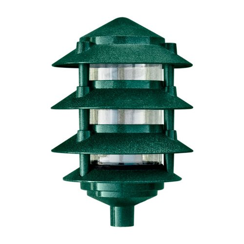 Dabmar Lighting D5100-G Cast Aluminum Four Tier Pagoda Light, Green