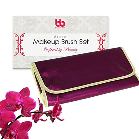 Best Professional Makeup Brushes Set - 16 Pc Purple Cosmetic Foundation Make up Kit - Beauty Blending for Powder & Cream - Bronzer Concealer Contour Brush - Beauty