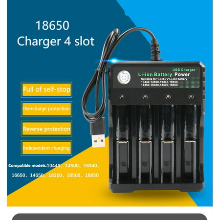 3.7V 18650 Charger Li-ion Battery USB Independent Charging Portable 18350 16340 14500 Battery Charger Four slots (Four Slot)