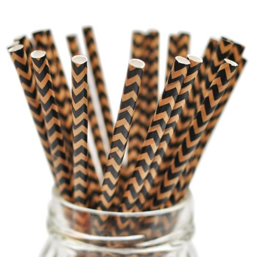 "Stylish Stix Paper Straws .25""X7.75"" 25/Pkg-Kraft Black & Tan Chevron"