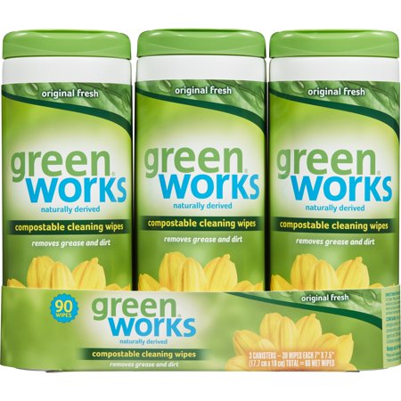 Green Works Compostable Cleaning Wipes, Biodegradable Cleaning Wipes - Original Fresh, 90 ct ()