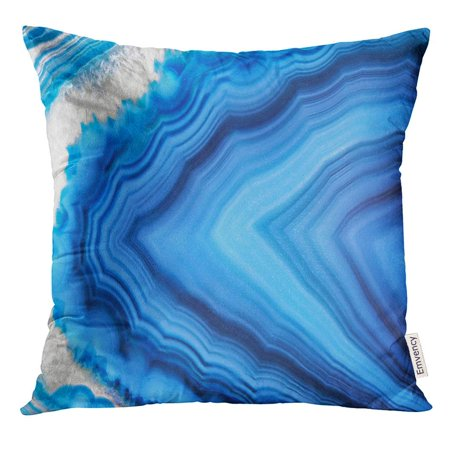 CMFUN Amazing Blue Agate Crystal Cross Section White Natural Translucent Abstract Structure Slice Mineral Stone Pillow Case 20x20 Inches Pillowcase