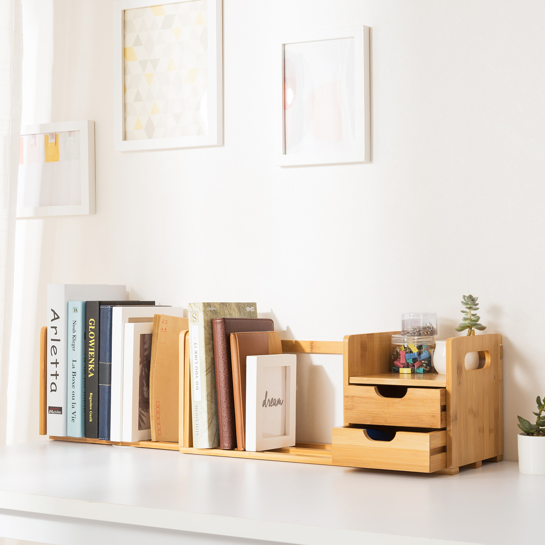 Ollieroo Natural Bamboo Tabletop Book Rack Extendable Storage Bookshelf Desk Organizer by Ollieroo