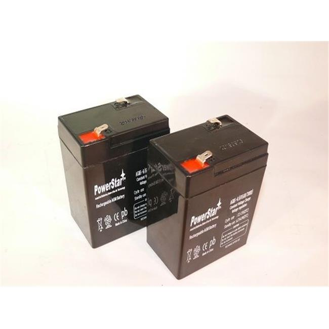 PowerStar AGM5-6-2Pack4 6V 5Ah SLA Rechargeable Battery for Alarms, ATV and motorcycle, 2 Pack