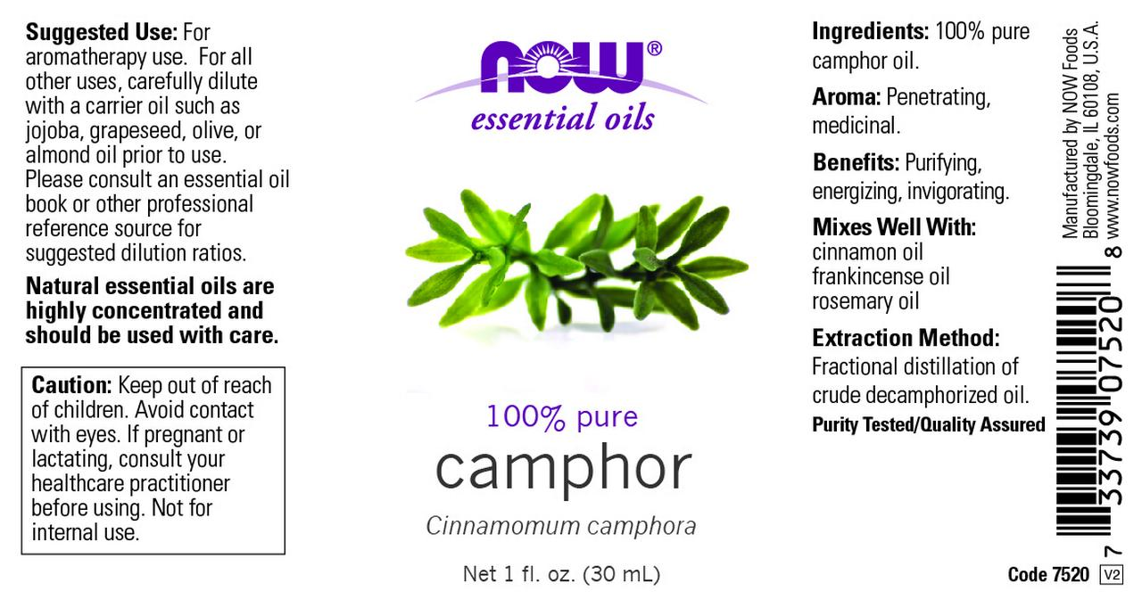 NOW Essential Oils, Camphor Oil, Camphorous Aromatherapy Scent, 100% Pure  and Purity Tested, Vegan, 1-Ounce