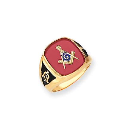 Solid 14k Yellow Gold Men's Simulated Ruby Simulated Masonic Ring (17mm) - Size (Gold Cabochon Ruby)